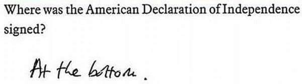 Funny history test answer.