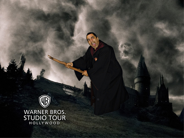 Fash riding Harry Potter's broom at Warner Bros Studio tour.