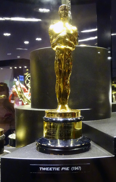 Oscar for Tweetie Pie on display at Warner Bros Studio Tour.
